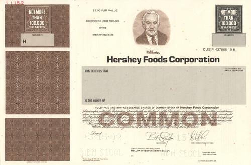 Hershey Foods specimen stock certificate