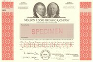 Molson Coors stock certificate specimen - rare printer archive sample