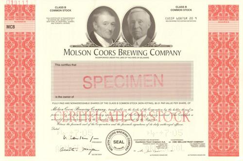Molson Coors stock certificate specimen - rare printer archive sample