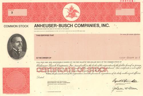 Anheuser-Busch stock certificate - printer specimen