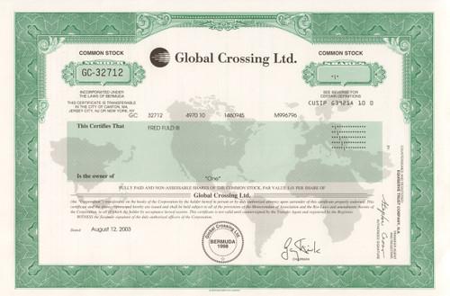 Global Crossing stock certificate - scandal
