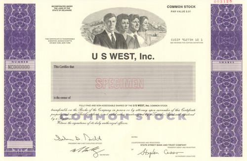 US West stock certificate specimen