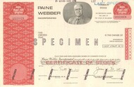 Paine Webber stock certificate - rare specimen issue