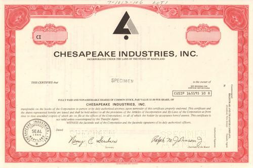 Chesapeake Industries stock certificate specimen