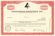 Chesapeake Industries stock certificate specimen