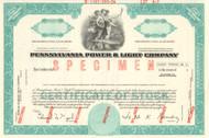 Pennsylvania Power & Light Company stock certificate specimen