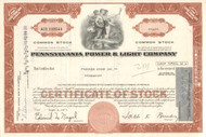 Pennsylvania Power & Light Company stock certificate - brown
