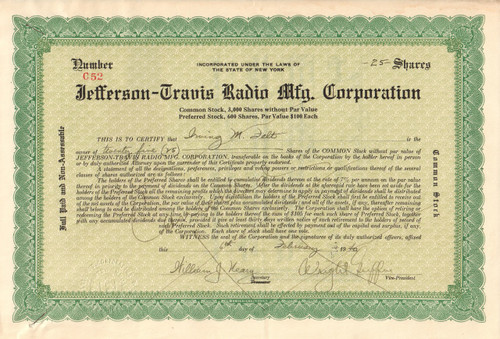 Jefferson-Travis Radio Mfg Corporation stock certificate -green
