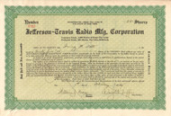 Jefferson-Travis Radio Mfg Corporation stock certificate -green