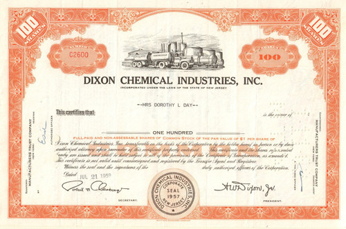 Dixon Chemical Industries stock certificate 1959
