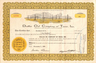 Dallas Oil Company of Texas stock certificate 1960