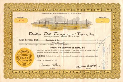 Dallas Oil Company of Texas stock certificate 1960