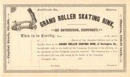 Grand Roller Skating Rink stock certificate circa 1885 - Covington KY