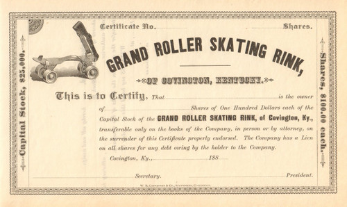 Grand Roller Skating Rink stock certificate circa 1885 - Covington KY