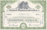 Stewart-Warner stock certificate - green