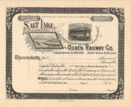 Salt Lake and Ogden Railway stock certificate circa 1896