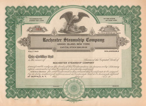 Rochester Steamship Company stock certificate