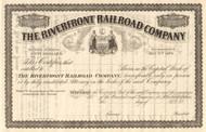 The Riverfront Railroad Company stock certificate circa 1876