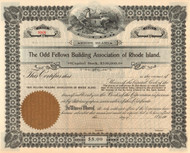Odd Fellows Building Association stock certificate circa 1900