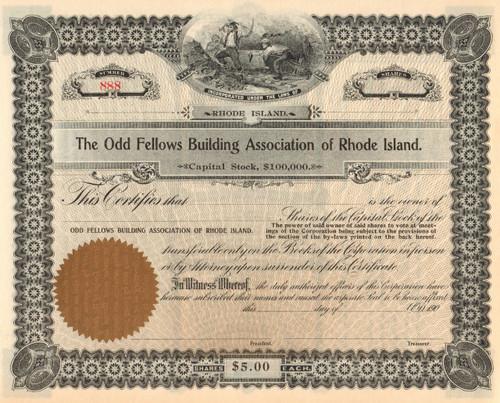 Odd Fellows Building Association stock certificate circa 1900
