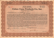 Cuban Cane Products Co. option warrant 1930