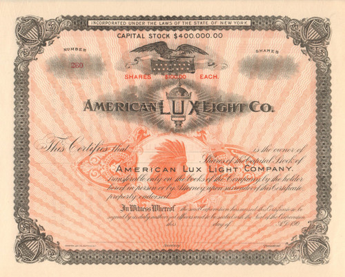 American Lux Light Co stock certificate circa 1906