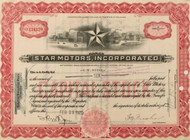 Star Motors stock certificate - subsidiary of Durant Motors