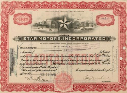 Star Motors stock certificate - subsidiary of Durant Motors