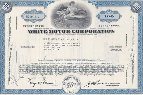 White Motor Corporation stock certificate - blue
