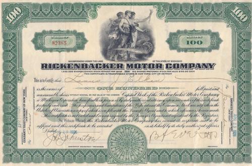 Rickenbacker Motor Company stock certificate 1926