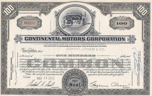 Continental Motors Corporation stock certificate 1961