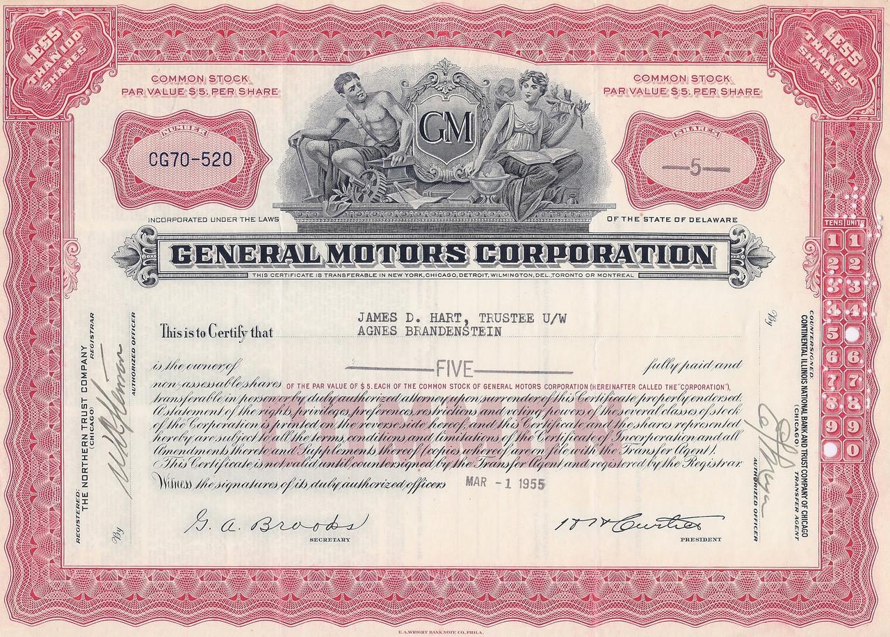 General Motors Gm Corporation 1950 S
