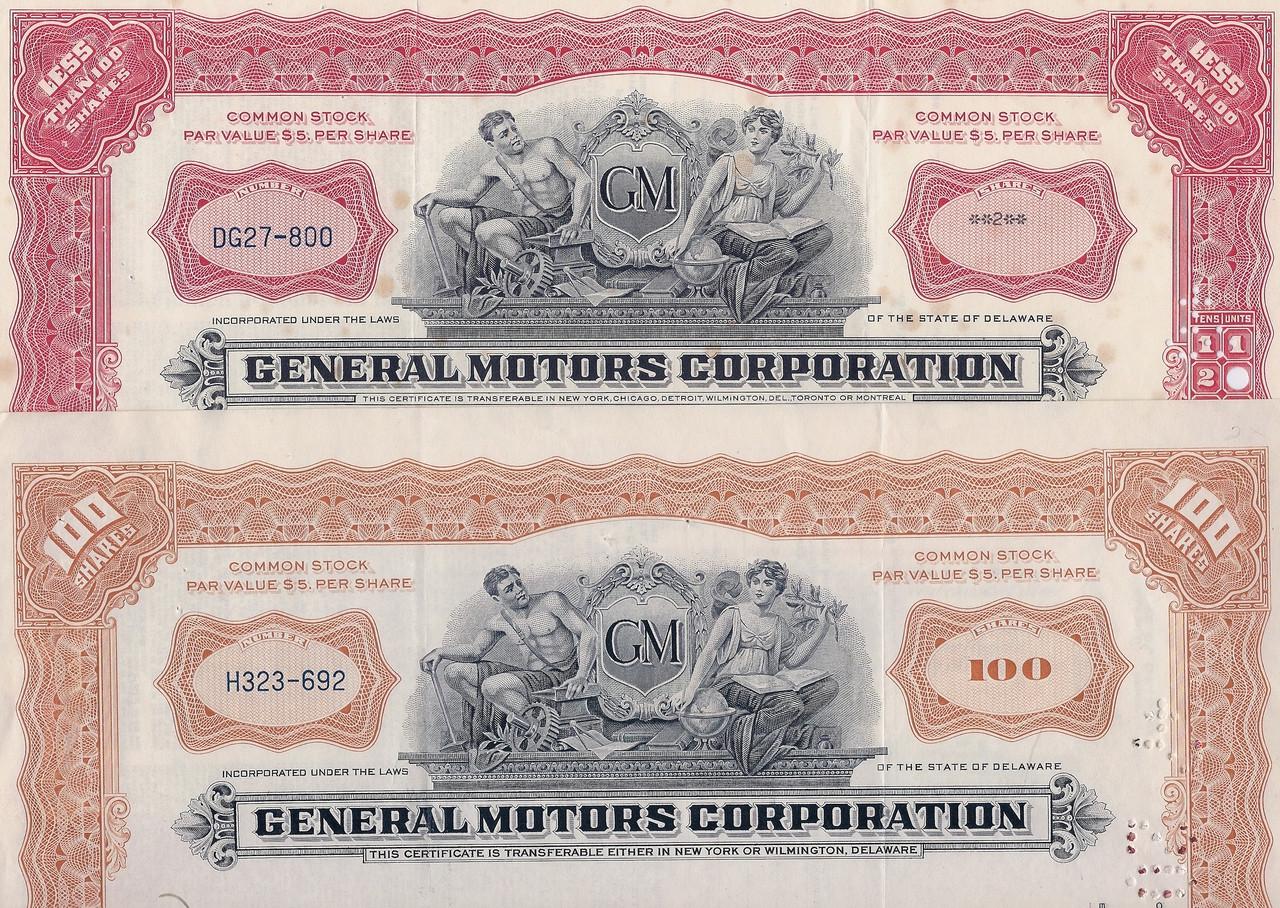 Five 1931 General Motors Corporation Stock Certificates Lowest Price Ever 5