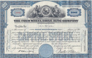Four Wheel Drive Auto Company stock certificate 1950's - blue