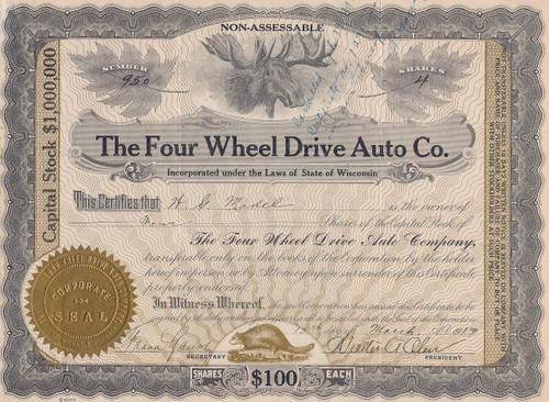 Four Wheel Drive Auto Co. stock certificate 1917