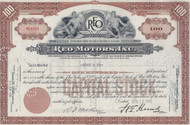 REO Motors 1945 stock certificate - brown