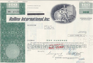 Rollins International stock certificate - green