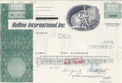 Rollins International stock certificate - green