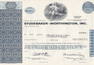 Studebaker-Worthington stock certificate - blue