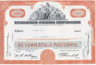 Studebaker-Packard 1960's stock certificate - orange