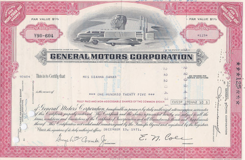 GM stock certificate - light red