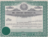 Bill Goddard Chevrolet Company stock certificate - Kansas City, Missouri