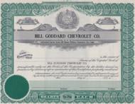 Bill Goddard Chevrolet Company stock certificate - Kansas City, Missouri