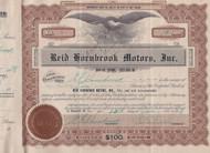 Reid Hornsbrook Motors stock certificate 1928, certificate no. 8