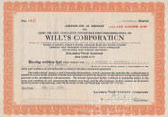 Willys Certificate of Deposit 1922