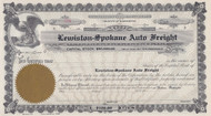 Lewiston-Spokane Auto Freight 1920 unissued stock certificate