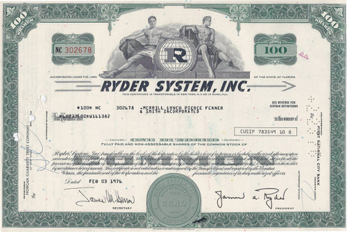Ryder System stock certificate 1976 - James Ryder as president