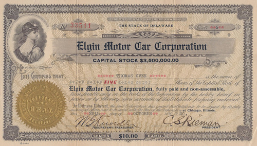 Rare Elgin Motor Car Corporation stock certificate