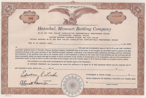 Hannibal Missouri Bottling Company stock certificate