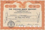 William Simon Brewery stock certificate orange 1933
